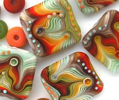 Handmade Glass Lampwork Bead Set Retro Stripes by Michal S SRA on eBay