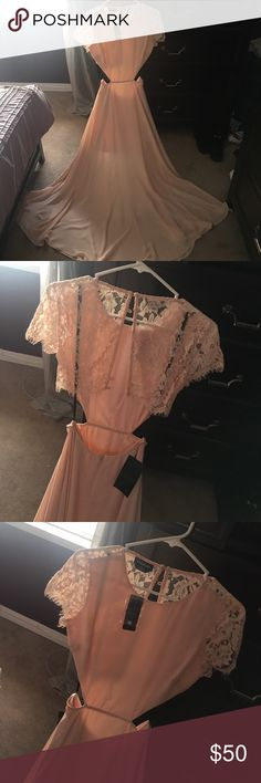 Bebe dress Gorgeous full length blush dress. Great for any special occasion. Brand new with tags. Has beautiful lace detail with an open back. bebe Dresses Backless