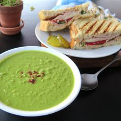 Who doesn't love an easy soup and salad for an easy dinner? This fresh pea soup and supreme sandwich is the perfect combination that the family will love for #WeekdaySupper