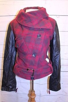 Hellz Coat M Red Black Plaid Faux Leather Sleeve Retro Punk Moto Jacket  #Hellz #Motorcycle