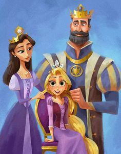 Rapunzel with her parents - tangled - rapunzel - disney - princess Disney Rapunzel, Disney Pixar, Tangled Rapunzel, Princess Rapunzel, Disney And Dreamworks, Disney Animation, Disney Movies, Tangled 2010, Tangled Series
