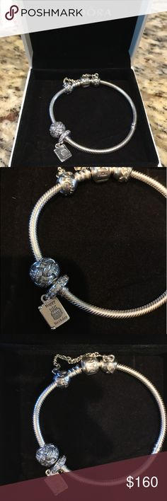 Brand New Authentic Pandora Bracelet AND Charms! Brandie new in box authentic Pandora bracelet, safety chain and charms. The birthday card charm and sparkling  knot charm. Love always safety chain. Never worn. Pandora Jewelry Bracelets