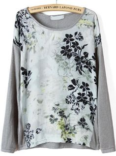 Shop Grey Long Sleeve Floral Print T-shirt online. Sheinside offers Grey Long Sleeve Floral Print T-shirt & more to fit your fashionable needs. Free Shipping Worldwide!