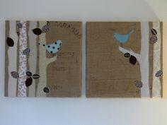 Chatty Birds, burlap art by Jenny Bartoy (Stumbles & Stitches)