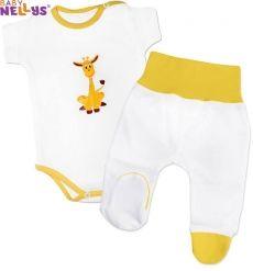 2- dílná soupravička Baby Nellys - Body kr. rukáv s polodupačky - Žirafka