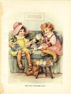 Two Little Girls And Dolls Tea Party Vintage by printsandpastimes, £6.00