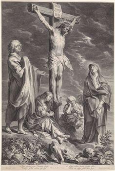 Christus aan het kruis, met Maria en Johannes, Schelte Adamsz. Bolswert, Abraham Bloteling, 1596 - 1659