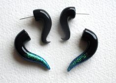 Black Glitter Tipped  Fake Gauge Earring by Deceptions on Etsy