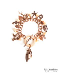 Copper Charm Bracelet Feather Padlock Arrow by BeckyNunnDesign
