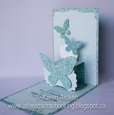 Karen Aicken using the Pop it Ups Lucy Label die by Karen Burniston for Elizabeth Craft Designs - Altered Scrapbooking: Blue Butterfly Pop Up card
