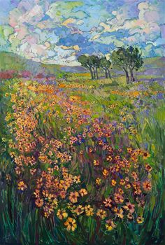 New addition to the Texas Collection: a modern impressionist painting of black eyed Susans in spring green grass.