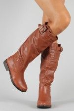 Bamboo Montage-64 Buckle Round Toe Knee High Boot