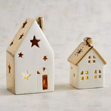 Our handcrafted and painted porcelain houses are simply adorable, and when lit with tealights, the flickering glow through the windows mesmerizes. Christmas Clay, Christmas Lanterns, Christmas Makes, Christmas Crafts, Christmas Decorations, Xmas, Diy Clay, Clay Crafts, Diy And Crafts