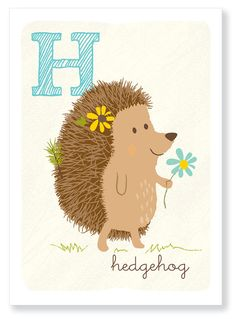 H is for Hedgehog by SeaUrchinStudio on Etsy, $10.00