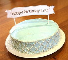 White Banner  Personalized Cake Topper by TaffieWishes on Etsy