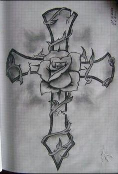 Cross And Rose Drawing by Ildar Cross Tattoo Designs, Tattoo Design Drawings, Tattoo Sketches, Rose Drawing Tattoo, Bild Tattoos, Body Art Tattoos, Sleeve Tattoos, Tribal Rose Tattoos, Geometric Tattoos