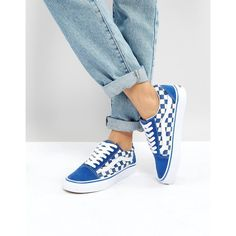 Vans Old Skool Primary Check Sneakers In Blue ($90) ❤ liked on Polyvore featuring shoes, sneakers, blue, high top skate shoes, vans high tops, canvas lace up sneakers, canvas slip on sneakers and retro sneakers