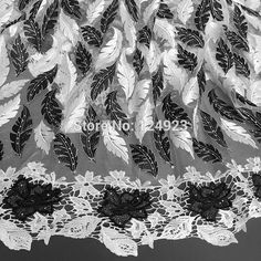 Black white wholesale African French lace fabric feathers tulle fabric with stones big guipure lace borders 5 yards 9326f