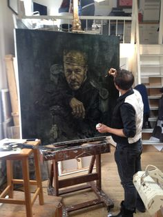 Jonathan Yeo working on his portrait of Kevin Spacey as Richard III. The painting will be on display in the National Portrait Gallery, London this September.