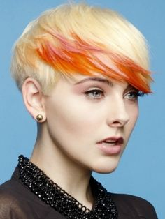 pixie cut, orange, pink, short hair, badass