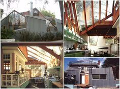 THE GEHRY RESIDENCE by Frank Gehry, Santa Monica, CA: Gehry designed an extension around an existing 1920's pink bungalow. He wrapped the outside of the house w/ a new exterior, but left the original exterior visible. I love how how you can see the exterior of the bungalow incorporated into the kitchen. Apparently many of Gehry's neighbors were not happy about his unusual home, and it's rumored that one neighbor used to regularly bring his dog to, er, relieve itself on Gehry's lawn in…