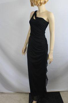 b8d83e2d95c 80s prom dress vintage 1980s dress black asymmetrical dress Long Black  Evening Dress