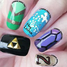 So I'm Reposting my #Zelda nails from a few months ago because:  1✳ I'm super busy today and tomorrow trying to catch up on orders.  2✳ Because my 13 yr old daughter is playing #OcarinaOfTime on our #Nintendo64 and that's what I've been hearing as I've been making and filing orders...lol 3✳ Because I didn't have time to do my nails and didn't feel good either. Those of you that know me - know how much I LOVE video games...especially old school games like Zelda!!!