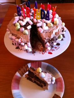 Food, glorious food: Birthday cakes- Rocky road cake and coffee and walnut.