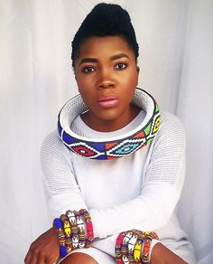 Ndebele neckring from Zulubeads on Etsy. Ndebele patterns, South African woman.