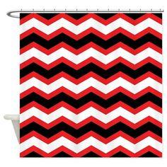 Black White Red Chevron Shower Curtain On CafePress.com