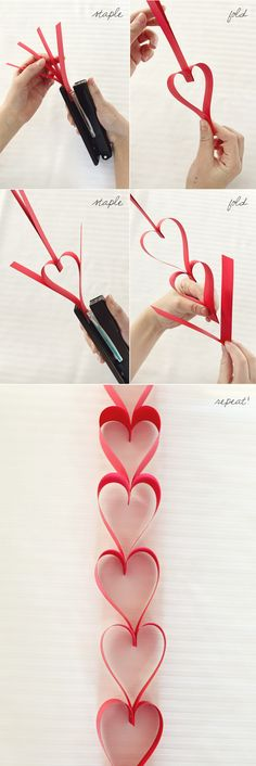 Paper Heart Garland - #art, #diy, craft