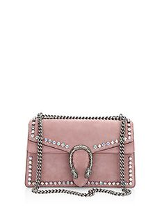 Gucci Small Crystal-Embellished Suede Chain Shoulder Bag