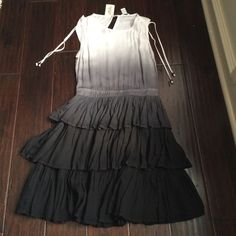 White To Black Ombré Dress BNWT Beautiful white to black ombré dress, brand new with tags from Forever 21. Very cute but just not my style. I'm open to trades! Forever 21 Dresses