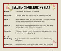 The role of the teachers in this pin is divided into seven topics: a planner, . - The role of the teachers in this pin is divided into seven topics: a planner, a faci … – play i - Inquiry Based Learning, Early Learning, Student Learning, Preschool Classroom, Preschool Activities, Emergent Curriculum, Learning Stories, Learning Through Play, Early Childhood Education