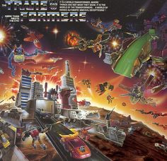 The vivid, action-packed box & catalog illustration for the 1986 line of Transformers toys