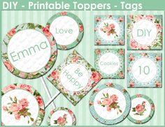 Editables Toppers - flores rosadas - Digital - Etiquetas Imprimibles - Fiestas - Bodas - Las etiquetas de la comida fría - 1634