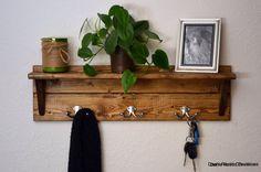 Rustic Wood Coat Rack Shelf Nickel Hooks by DansRusticCreations, $60.00