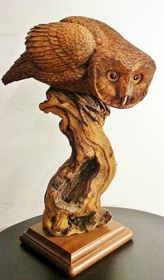 A life-sized wood carving of a Barn Owl by Jim Harden. A raw carving, left unpainted, to show all the details of the cuts, shaving, and wood burning marks. Amazing detail and very accurate to true life. This sculpture measures 13x17x8 and is a real stunner. The glass eyes are so realistic that it seems to be watching you.  See other fine sculptures at www.dittogalleries.com