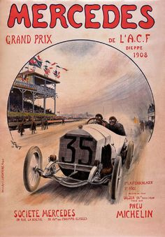 Mercedes Benz 1908 Motor Racing Car Advertisement Vintage Poster A4