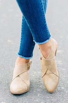 Strappy, buckle back, open heel low booties!
