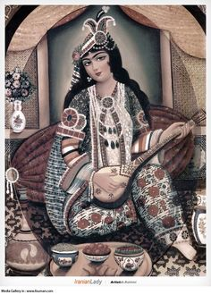 """A fine modern example of Persian Arts: Iranian Miniature evolved in digital age. A beautiful Woman is serving Wine and playing a musical Ins..."""