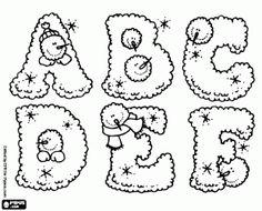 Las letras mayúsculas de la A a F con la página para colorear alfabeto de invierno