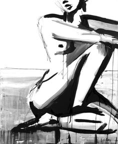 Seduta Tranquillo, 2011 sumi ink, charcoal, lacquer on paper, x - by Jenna Snyder-Phillips Life Drawing, Figure Drawing, Painting & Drawing, Art Plastique, Erotic Art, Figurative Art, Love Art, Art Forms, Female Art