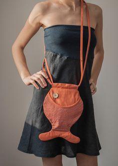 Fish Purse, Fish Bag, Orange, Bright, Cute Purse, Hipster Style, Beach Fashion, Summer Bag, Cotton Bag, Party Purse