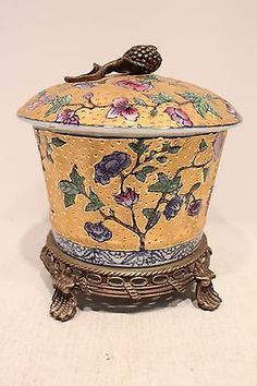 Beautiful Round Gold Colored Porcelain Cover Box with Brass Ormolu