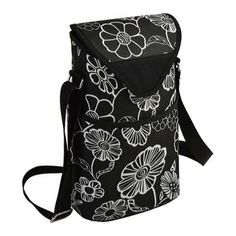 Picnic at Ascot Two Bottle Tote 13in Night Bloom (One Size), Black (Canvas)