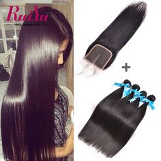 Peruvian Virgin Hair With Closure 3 Bundles Human Hair With Closure 7A Unprocessed Peruvian Straight Virgin Hair With Closure //Price: $94.02 & FREE Shipping //     #hairextension #style #beauty #woman #love