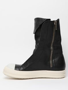 Rick Owens Mens Leather Ramones Boot in Black for Men