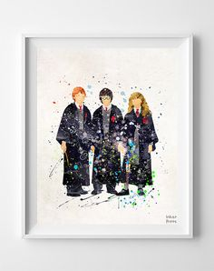 Harry Potter Print, Hermione Granger Print, Ronald Weasley Print, Type 2, Playroom Wall Art, Baby Room Decor, Fathers Day Gift