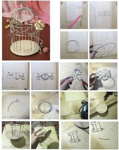 Birdcage - from wire. Diy Arts And Crafts, Crafts To Do, Diy Craft Projects, Wire Crafts, Paper Crafts, Thali Decoration Ideas, Creation Deco, Beads And Wire, Wire Art